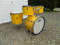 VINTAGE 1970's PEARL 4 DRUM KIT - YELLOW FLASH,BIG SIZES,MADE IN JAPAN