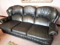 Green Leather 3 seater sofa in good condition - FREE