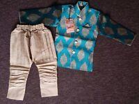 Beige N Turquoise Blue Breeches Kurta Pyjama/Sherwani