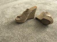 Women's GUESS Beige high heel wedges - UK Size 8