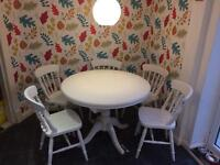 Extending Round Table & 6 Chairs - shabby chic