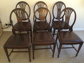 Set of 6 Mahogany dining chairs Hepplewhite style