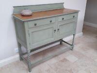 Fantastic Vintage Painted Sideboard - pale green, barley twist legs