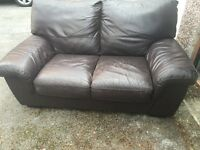 Leather sofa CHOC brown Good Condition very COMFY