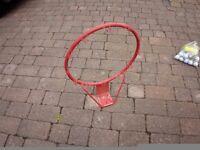 Solid metal basketball hoop