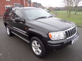 2003 JEEP GR CHEROKEE CRD OV-LAND 4X4 HIGH/LOW DIESEL AUTO FULL LEATHER LOOK HEATED SEATS ALLOYS