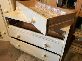two 3 drawer painted drawer units