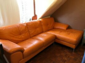 Dfs orange leather sofa