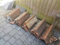 7 roll top terracotta clay ridge tiles