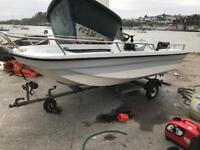 14ft dory outboard and trailer p/x for decent outboard fishing boat