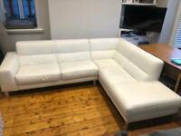 Natuzzi 'Italsofa' White Leather Corner Sofa