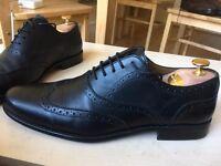 Men's Zara black leather lace-up oxford shoes, size 9 UK, never worn