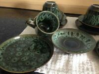 Retro half tea set ..drip ware .. Mid century .. Bargain , unusual