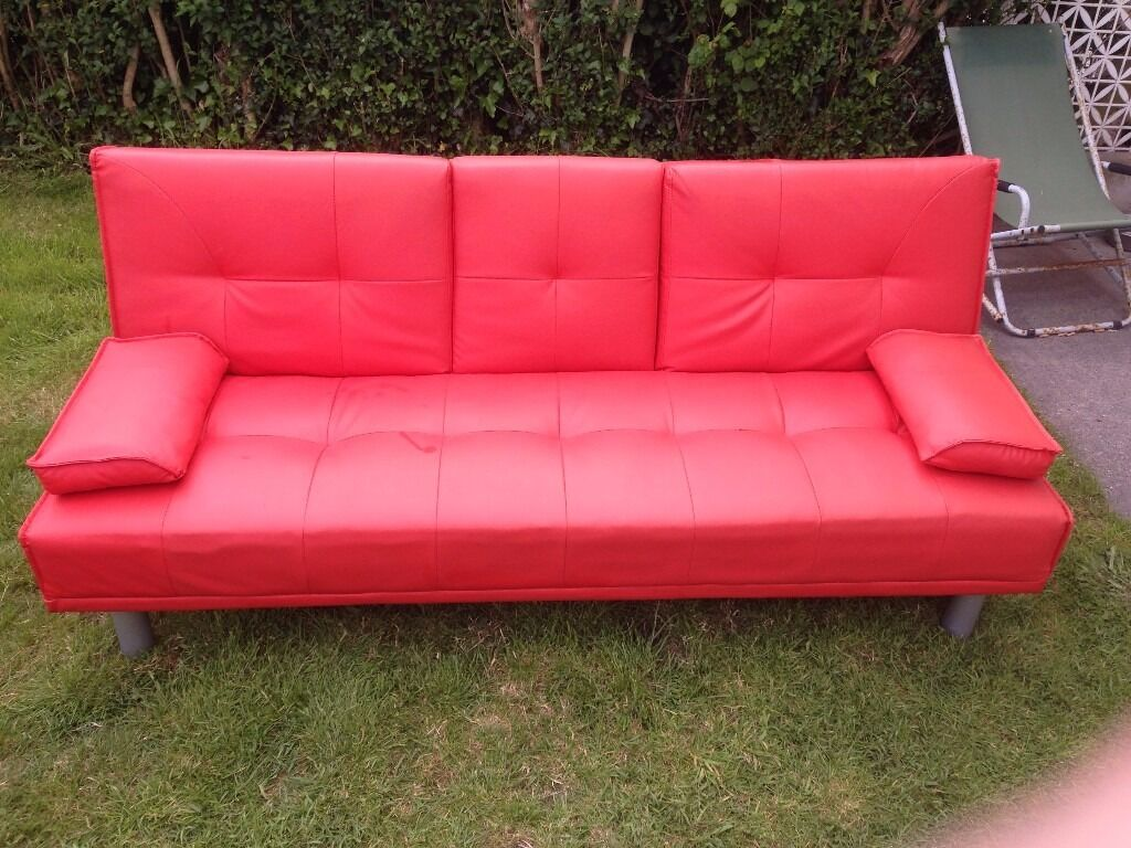 Sofa Bed Red Faux Leather Click Clack Double Settee 2 3 Seater Modern Couch