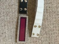 Diamanté pink LED Message belt in black & white