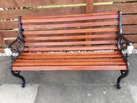 Garden Bench with Lion Head Cast Iron Ends
