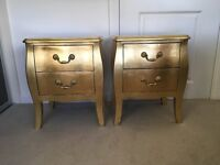 Gold bedside tables with drawers