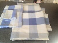 Blue checked Curtains & matching Quilt Cover with Pillowcase