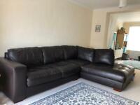 Choc brown L-shape sofa