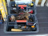 assorted hand tools stilsons planes drill bits hammer etc.