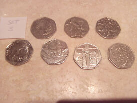 Set of 7 Collectable 50p Coins - Suffragettes Scouts Tiggy winkle etc Great British Coin Hunt - Rare