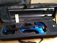 Bridge 'Aquila' Electric Violin - as new, bright blue, with all accessories (effects unit, amp etc)