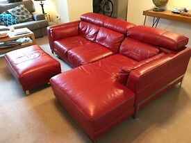 Striking and comfortable red leather sofa