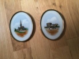 Two small antique oval brass framed Norwich pictures.