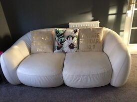 Italian Designer White leather 3 seater and 2 seater sofa and large footstool.