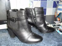 Size 4 Black Ankle Boots with small heel