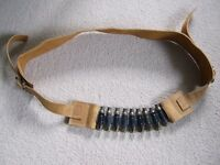 Ammo belt by fashion designer Joey D - leather featuring recycled shells - sand tan - punk emo