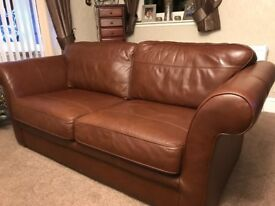 Brown leather three piece suite. No rips or tears. In good condition. For a quick sale