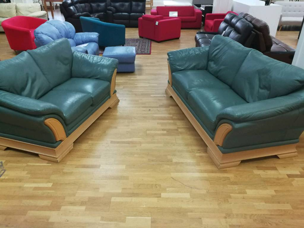Green Leather 3 And 2 Seater Sofas With Wooden Trim In Hamilton South Lanarkshire Gumtree