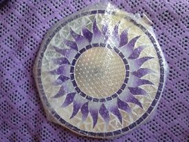 Round Mosaic Mirror, Sun Design, Purple Colours