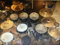 Pearl Vision Birch Drum Kit Black Great Condition Zildjian Cymbals Remo Heads Natal Snare