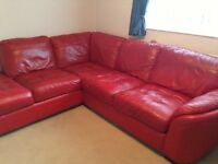 Red leather corner couch and arm chair for sale