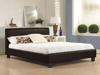 *** Express Delivery *** Single / Double Leather Bed Frame
