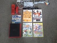 Nintendo wii mini red with 5 games