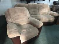 Fabric 3 and 1 recliner sofa set