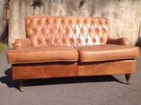 Chesterfield Style Two Seater Sofa - Settee in Tan / Brown Leather