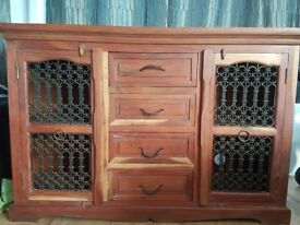 Beautiful solid wood cabinet with wrought iron door inserts