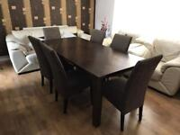 6 Seater Dinning Table Solid Wood Dark Brown with six Matching Chairs/Seats. Can Deliver