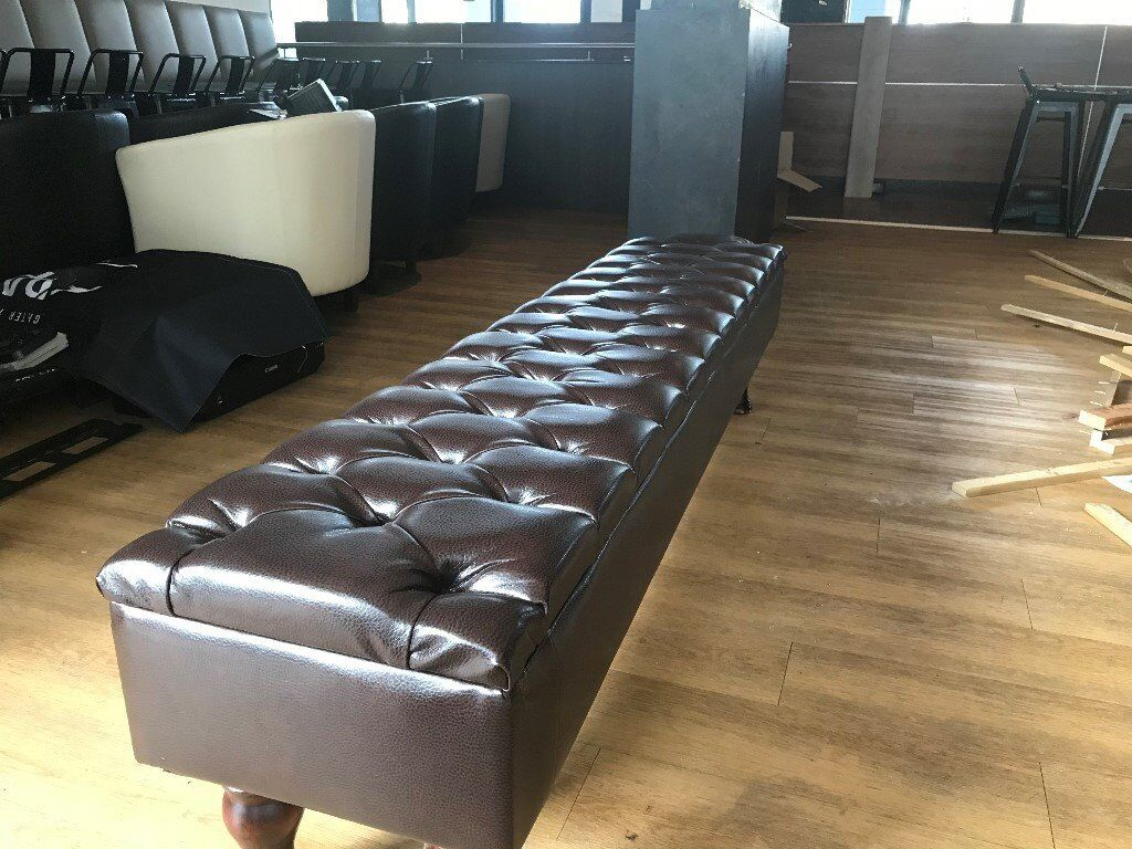 Leather Faux Benches x 6 With button details | Collection only