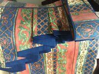 Curtains, pelmet, tie backs, terracotta/blue