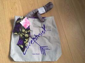 GENUINE VERA WANG Lovestruck Tote Grey/Purple Canvas Shopper - NEW