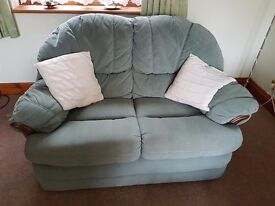 Plain Green 2 Seater Sofa +Single Armchair, good condition+another chair+ sofa for free but worn