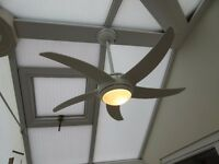 Conservatory Ceiling Fan - 110 cm diameter - 3 speed, with light and remote contol