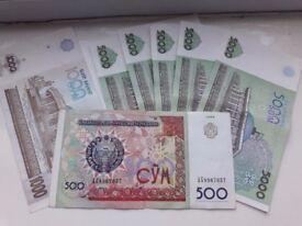 Dear Collectors, Uzbekistan Som Banknotes: 500 (1999), 1000 (2001), 5000 (2013)