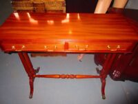 Two Draw Console Table Cherry Wood