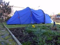 Six person tent in blue.